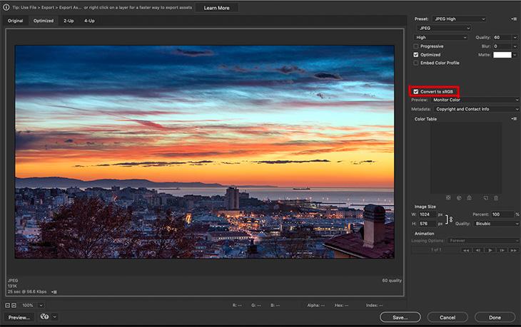 spazio Colore sRGB export