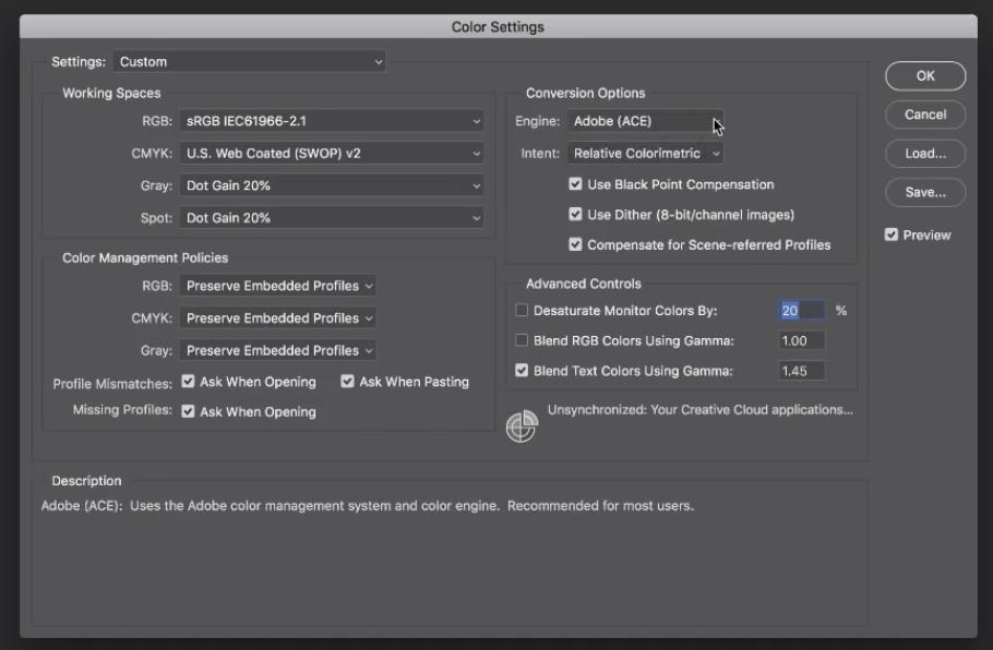 Adobe Photoshop Spazio Colore preferenze